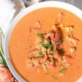 lobster bisque in bowl