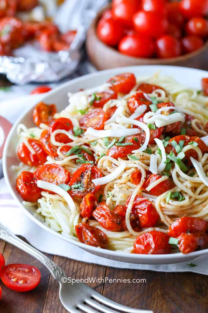 roasted cherry tomato pasta spend with pennies