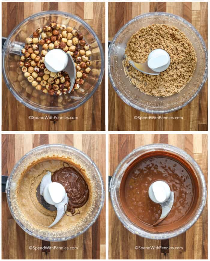 The various stages of processing hazelnuts to make homemade nutella
