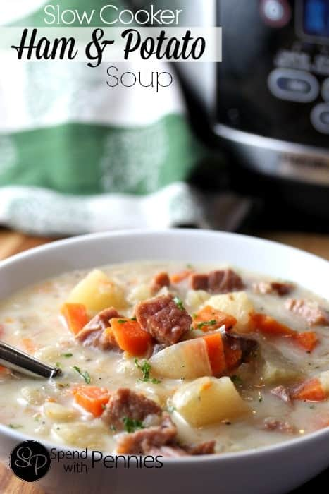Easy Ham and Potato Soup in the CrockPot!! This creamy soup is not ...