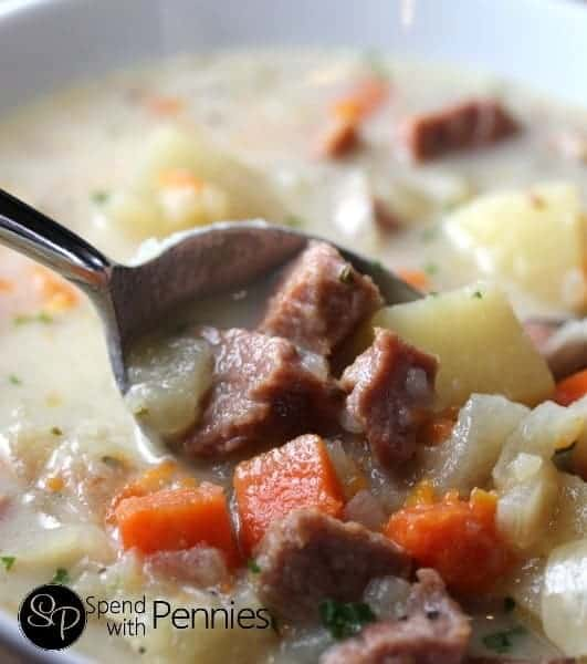 Slow Cooker Ham and Potato Soup!  The perfect way to use up leftover ham!