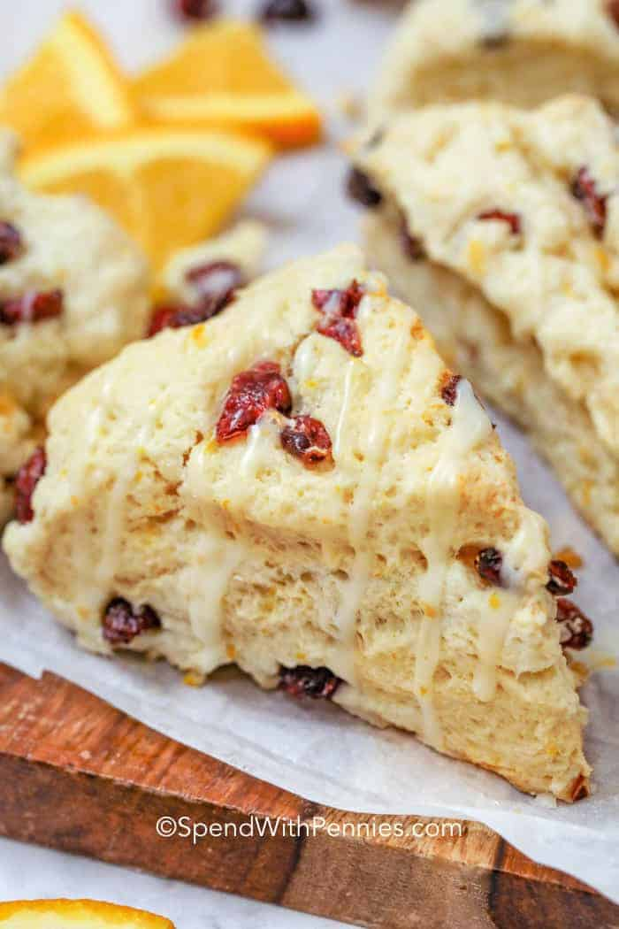 Cranberry orange scones on parchment paper