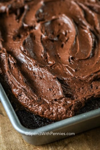 Chocolate cake with frosting in a baking pan