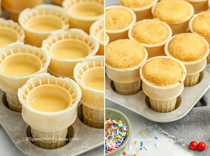 Two images showing muffin tray filled with ice cream cone cupcakes before and after baking.
