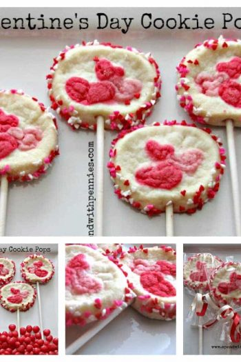 collage of Valentines day cookie pops