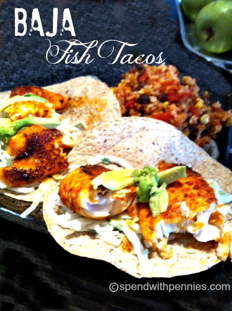 Baja Fish Tacos Recipe with Onion Slaw - Spend With Pennies