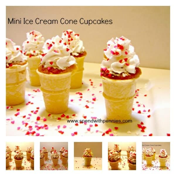 ice cream cone cupcakes with red sprinkles