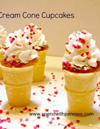 ice cream cone cupcakes with whipped cream and red sprinkles