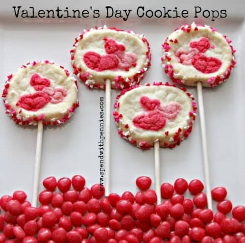 four Valentines day cookie pops