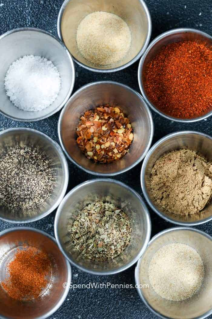 Homemade Taco Seasoning ingredients in metal cups