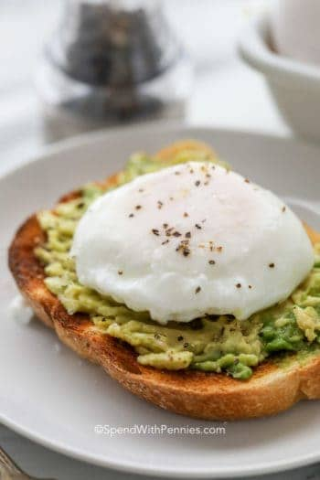 Poached egg on top of avocado toast