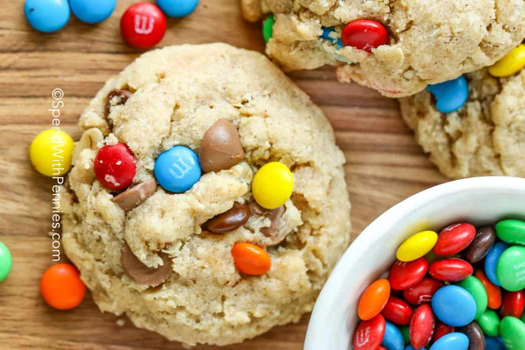 Overview of a monster cookie with M&M's and chocolate chips.