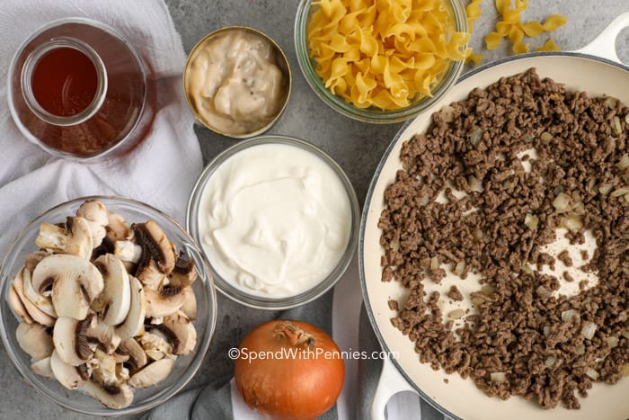 ingredients for mushroom stroganoff on a countertop