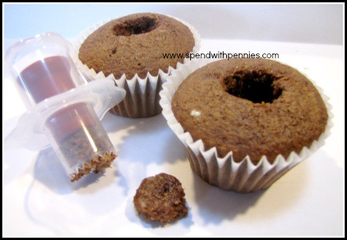 mocha cupcake with hole in the center for filling