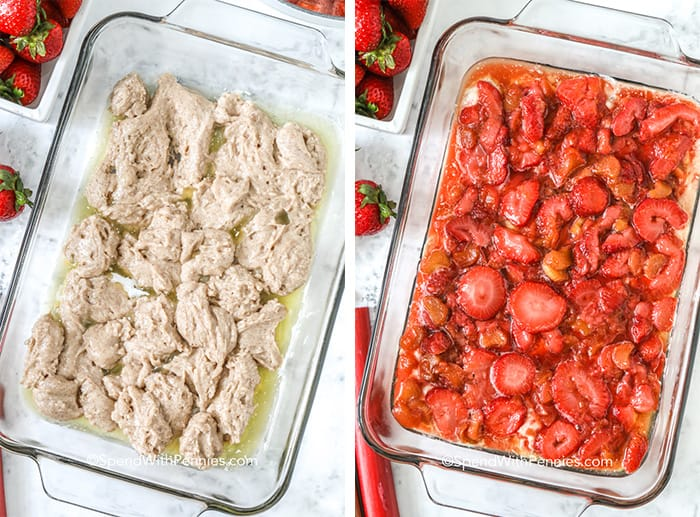 Overhead shots of Strawberry Rhubarb Cobbler in a glass baking dish