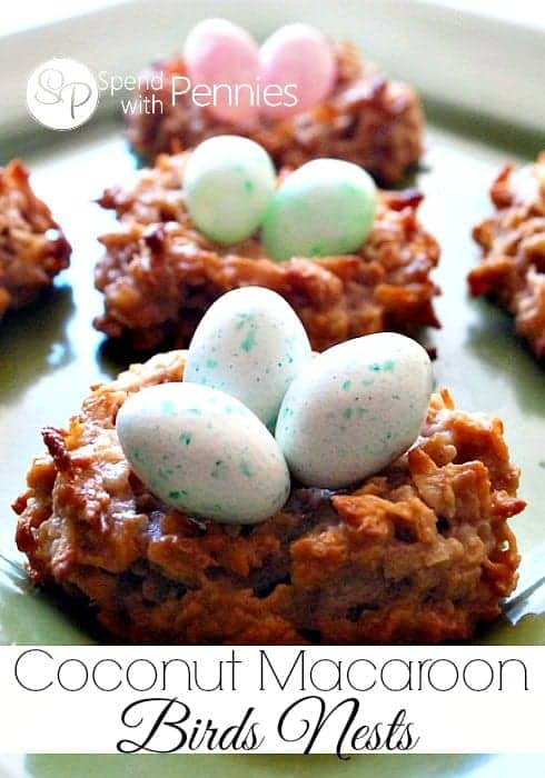 coconut macaroon birds nest cookies with candy eggs