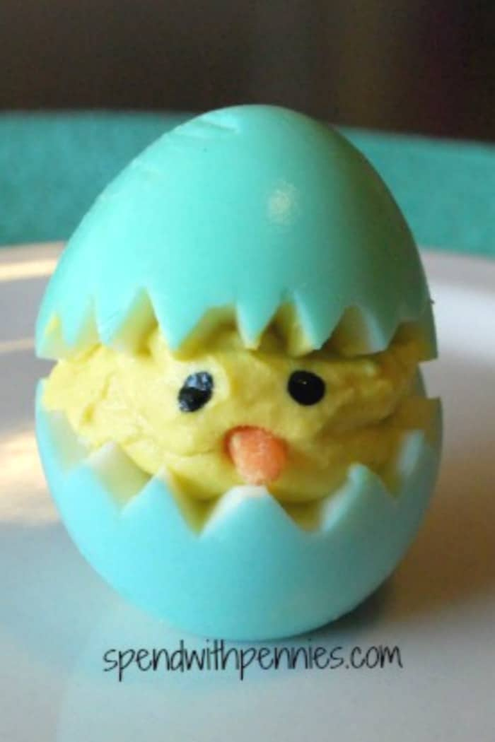 A deviled egg made to look like a baby chick for Easter