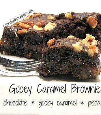 eating gooey caramel brownies with a fork