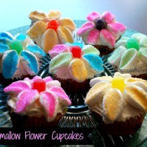 Sweet Spring Marshmallow Flower Cupcakes!