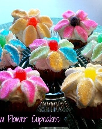 marshmallow flower cupcakes on a plate