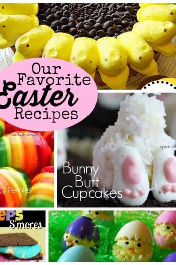 collage of easter recipe pictures including bunny but cupcakes, jello eggs and peeps sunflower cake