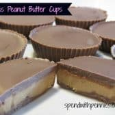 Homemade Reeses Peanut butter cup cut in half to show texture