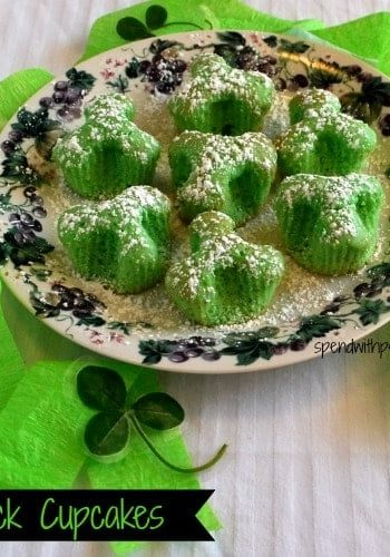shamrock cupcakes on a plate