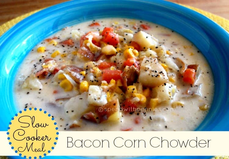 slow cooker bacon corn chowder in a blue bowl