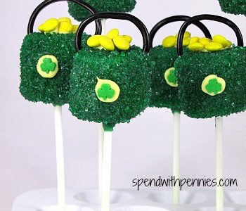 st. patricks day pops made of marshmallows