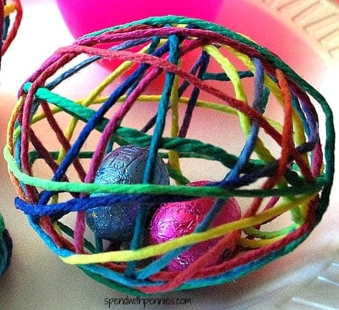 treat filled yarn egg