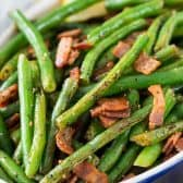 Green Beans with Bacon in a bowl
