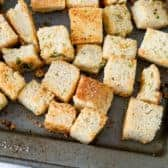 Homemade Croutons on a sheet pan