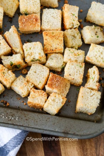 Homemade Croutons on a sheet pan