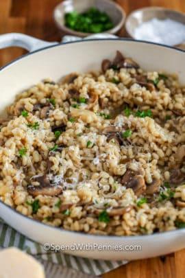 Pot of Mushroom Barley Risotto