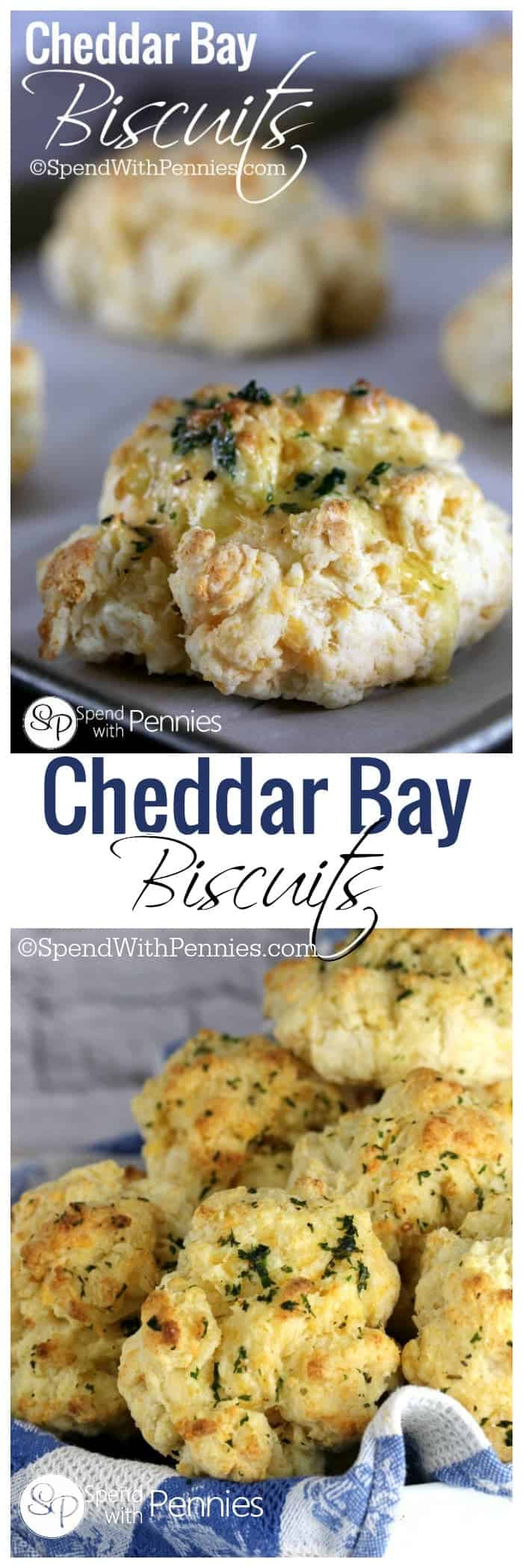 collage of cheddar bay biscuits, on a tray and in a bread basket