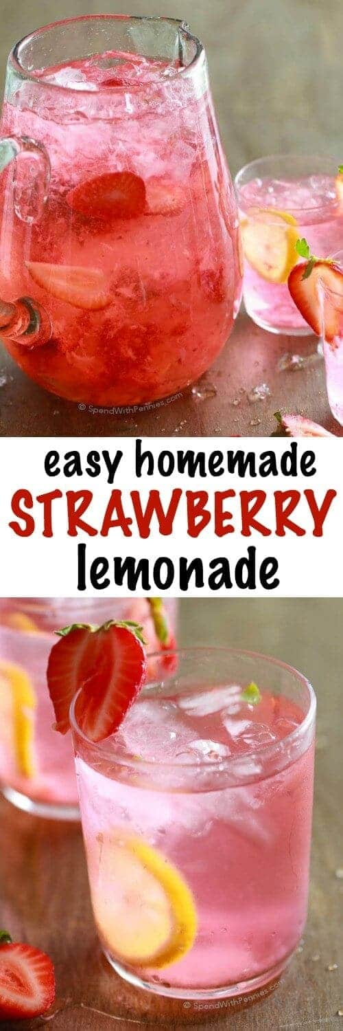 Homemade Strawberry Lemonade with a title