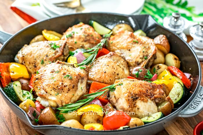 Roasted Rosemary Chicken in a skillet