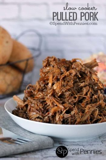 Slow Cooker Pulled Pork in a white bowl