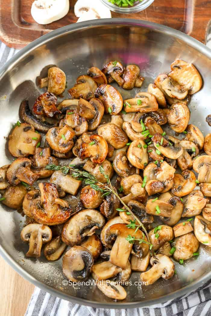 Overhead view of Sauteed Mushrooms with Garlic