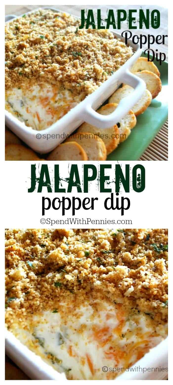 two images of Jalapeno Popper Dip with rich cream cheese, spicy diced jalapenos and sharp cheddar topped with crispy Panko bread crumbs