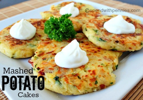 Loaded Mashed Potato Cakes! The perfect way to enjoy leftover mashed potatoes... and totally worth making extra!