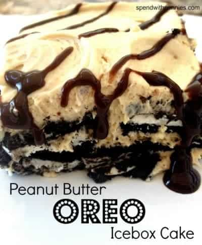 peanut butter oreo icebox cake with sauce