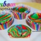 rainbow cupcakes on a white plate