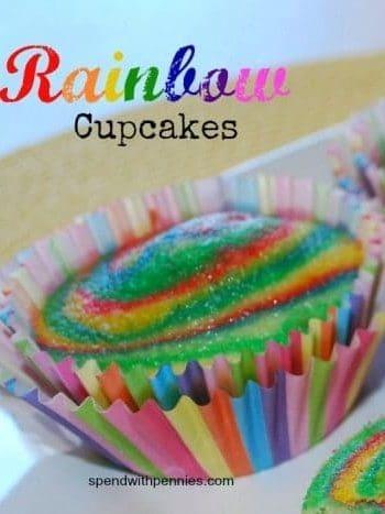 rainbow cupcakes in a rainbow wrapper
