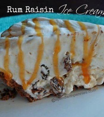 slice of rum raisin ice cream pie on a plate
