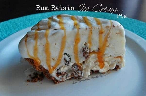 Caramel Rum Raisin Ice Cream Pie - Spend With Pennies