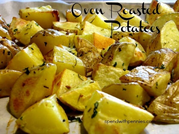 I've made these SO many times, simple Oven Roasted Potatoes make a perfect side dish for any meal!  These are so easy to make! from @spendwithpennies