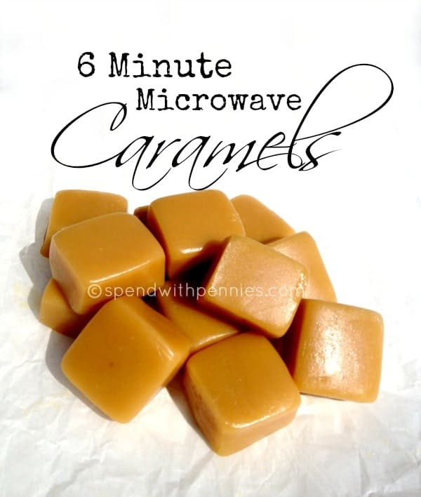 6 minute microwave caramels are one of our favorite easy caramel recipes! Perfect topped with salt or drizzled with chocolate!