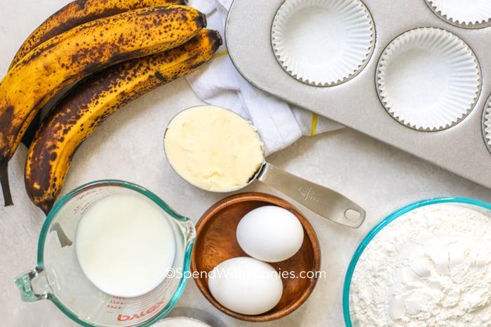 Overhead shot of Banana Cupcake recipe ingredients
