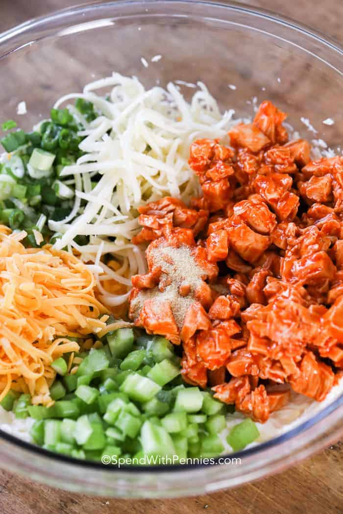 Buffalo Chicken Dip ingredients in a bowl